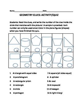 GEOMETRY CLUES: ACTIVITY/QUIZ: GRADES 2-5