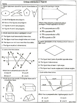Geometry Critical Attributes I: Tests I to X (Worksheets)