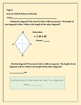 GEOMETRY: FINDING THE AREA OF A KITE: A  CROSS CURRICULAR ACTIVITY