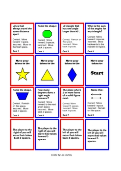 GEOMETRY GENIUS!  board game - (angles, solids, lines. triangles...