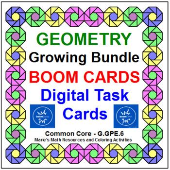 """GEOMETRY """"GROWING"""" BUNDLE: """"DIGITAL"""" BOOM CARDS (26 TASK CARD SETS)"""