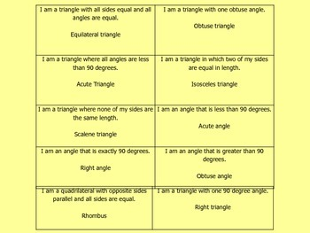 TEST REVIEW:  GEOMETRY JINGO (Quadrilaterals - Triangles - Polygons)