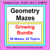 "GEOMETRY MAZES ""GROWING"" BUNDLE (58 MAZES ON 22 TOPICS)"