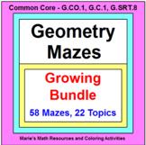 """GEOMETRY MAZES """"GROWING"""" BUNDLE (72 MAZES ON 25 TOPICS)"""