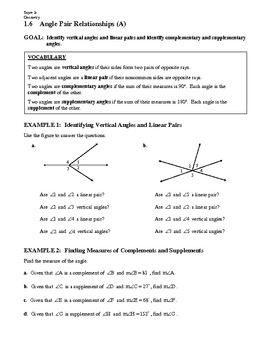 Geometry Notes Guide 1 6 Angle Pair Relationships By Mr Sayre