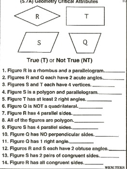 Geometry: Critical Attributes (worksheets)