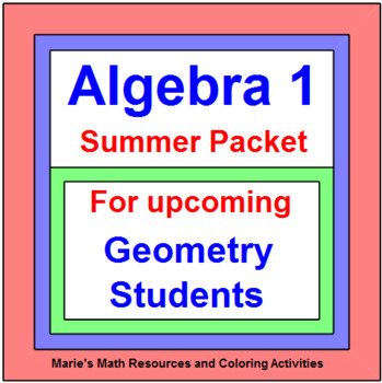 GEOMETRY SUMMER PACKET:  FOR UPCOMING GEOMETRY STUDENTS (AFTER ALGEBRA 1)