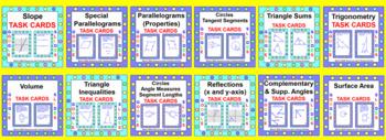 """GEOMETRY TASK CARDS BUNDLE:  (30 SETS """"GOOGLE SLIDES"""")"""