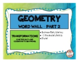 GEOMETRY - Transformations - Word Wall (Math Literacy)