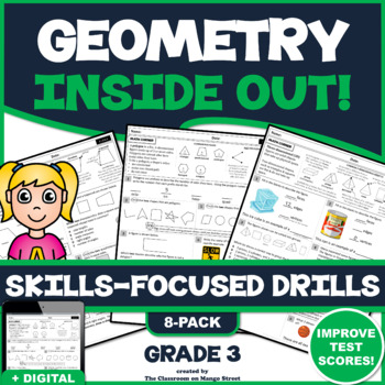 GEOMETRY UNIT! Scaffolded, Skills Practice Worksheets/Printables (50+ Questions)