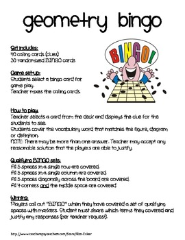 GEOMETRY Vocabulary Bingo Game