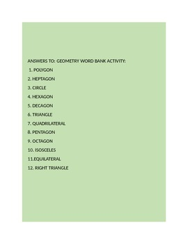 GEOMETRY WORD BANK ACTIVITY: GRADES 3-6