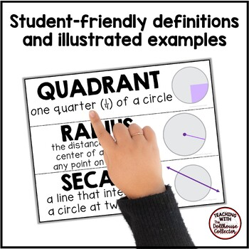 GEOMETRY WORD WALL BUNDLE - Elementary Geometry & Geometry of a Circle
