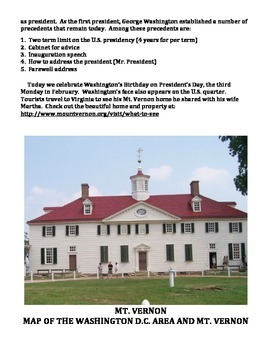 GEORGE WASHINGTON: BIOGRAPHY WORKSHEET, TEXT, QUIZ, ANSWER KEY (GRADES 4 - 8)