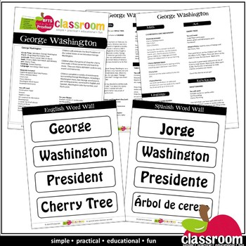 GEORGE WASHINGTON Preschool PreK Kindergarten 1-Day Lesson Plan