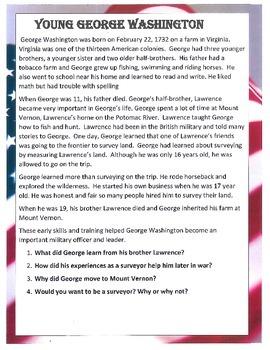 GEORGE WASHINGTON Teaching Study Unit Presidents Day US History CCSS