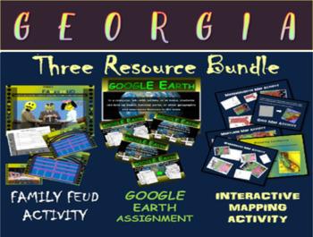GEORGIA 3-Resource Bundle (Map Activty, GOOGLE Earth, Fami