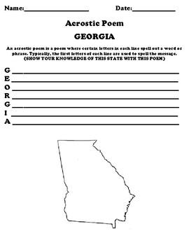 GEORGIA Acrostic Poem Worksheet