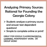 GEORGIA COLONY, Analyzing Primary Sources: Rationale for F