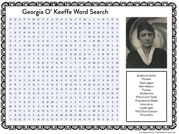 GEORGIA O'KEEFFE ACTIVITY ( WORD SEARCH)