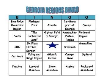 GEORGIA REGIONS BINGO CARD 1