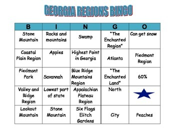 GEORGIA REGIONS BINGO CARD 2