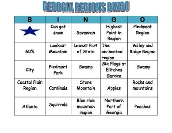 GEORGIA REGIONS BINGO CARD 4