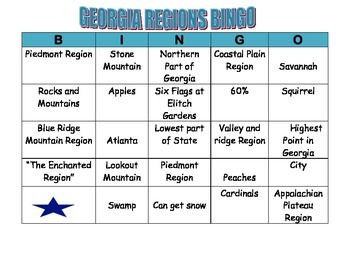GEORGIA REGIONS BINGO CARD 6