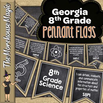 GEORGIA SCIENCE STANDARDS BANNERS, 8th GRADE, BURLAP & CHALKBOARD