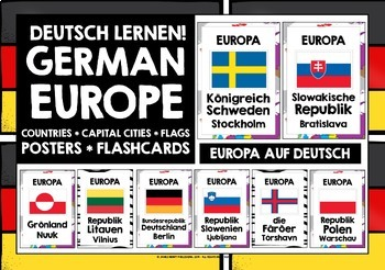 GERMAN EUROPE COUNTRIES, CAPITAL CITIES & FLAGS 72 POSTERS