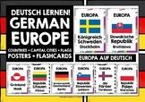 GERMAN CLASSROOM DECOR: EUROPE COUNTRIES, CAPITAL CITIES, FLAGS AUF DEUTSCH
