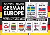 GERMAN - EUROPE 72 POSTERS - COUNTRIES, CAPITAL CITIES & FLAGS