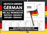 GERMAN ADJECTIVES: WRITTEN RECALL WORKBOOK #3