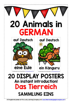 GERMAN ANIMALS (1) - 20 POSTERS / FLASHCARDS