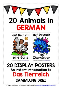 GERMAN ANIMALS (3) - 20 POSTERS / FLASHCARDS