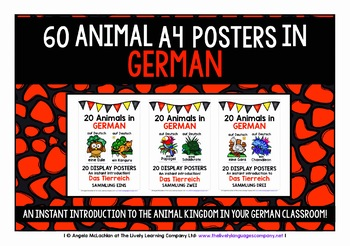 GERMAN ANIMALS 60 POSTERS / FLASHCARDS