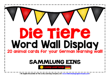 GERMAN ANIMALS (1) - CLASSROOM DECOR - 20 WORD WALL DISPLAY CARDS