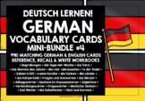 GERMAN VOCABULARY CARDS WITH REFERENCE & RECALL BUNDLE #1