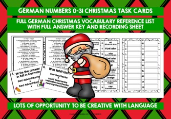 GERMAN CHRISTMAS NUMBERS 0-31 TASK CARDS