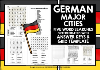 GERMAN CITIES - FIVE DIFFERENTIATED WORD SEARCH WITH ANSWER KEY & TEMPLATE