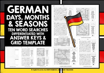 GERMAN DAYS MONTHS SEASONS WORD SEARCHES
