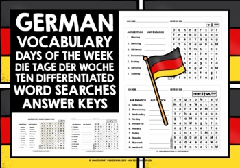 GERMAN DAYS OF THE WEEK WORD SEARCHES