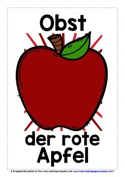 GERMAN FOR CHILDREN - 25 FRUITS POSTERS / FLASHCARDS