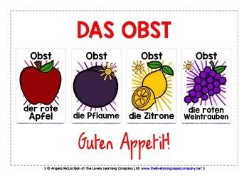 GERMAN FOR CHILDREN - 55 FRUIT & VEGETABLES POSTERS / FLASHCARDS