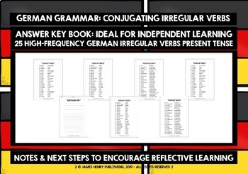 GERMAN IRREGULAR & MIXED VERBS CONJUGATION - PRESENT TENSE WORKBOOK & ANSWER KEY