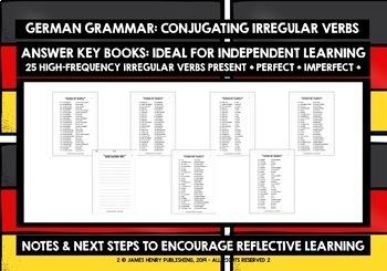 GERMAN IRREGULAR VERBS PRESENT/PERFECT/IMPERFECT TENSE - WORKBOOKS & ANSWER KEYS