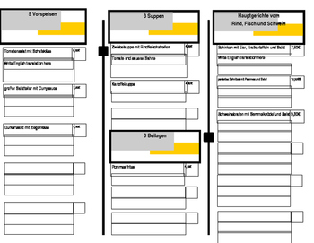GERMAN MENU PROJECT WITH TEMPLATE