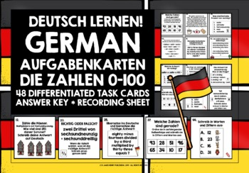 GERMAN NUMBERS 0-100 TASK CARDS WITH RECORDING SHEET & ANSWER KEY