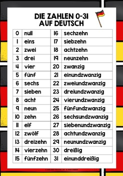GERMAN NUMBERS 0-31 REFERENCE SHEET