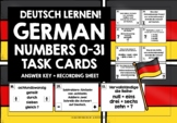 GERMAN NUMBERS 0-31 TASK CARDS